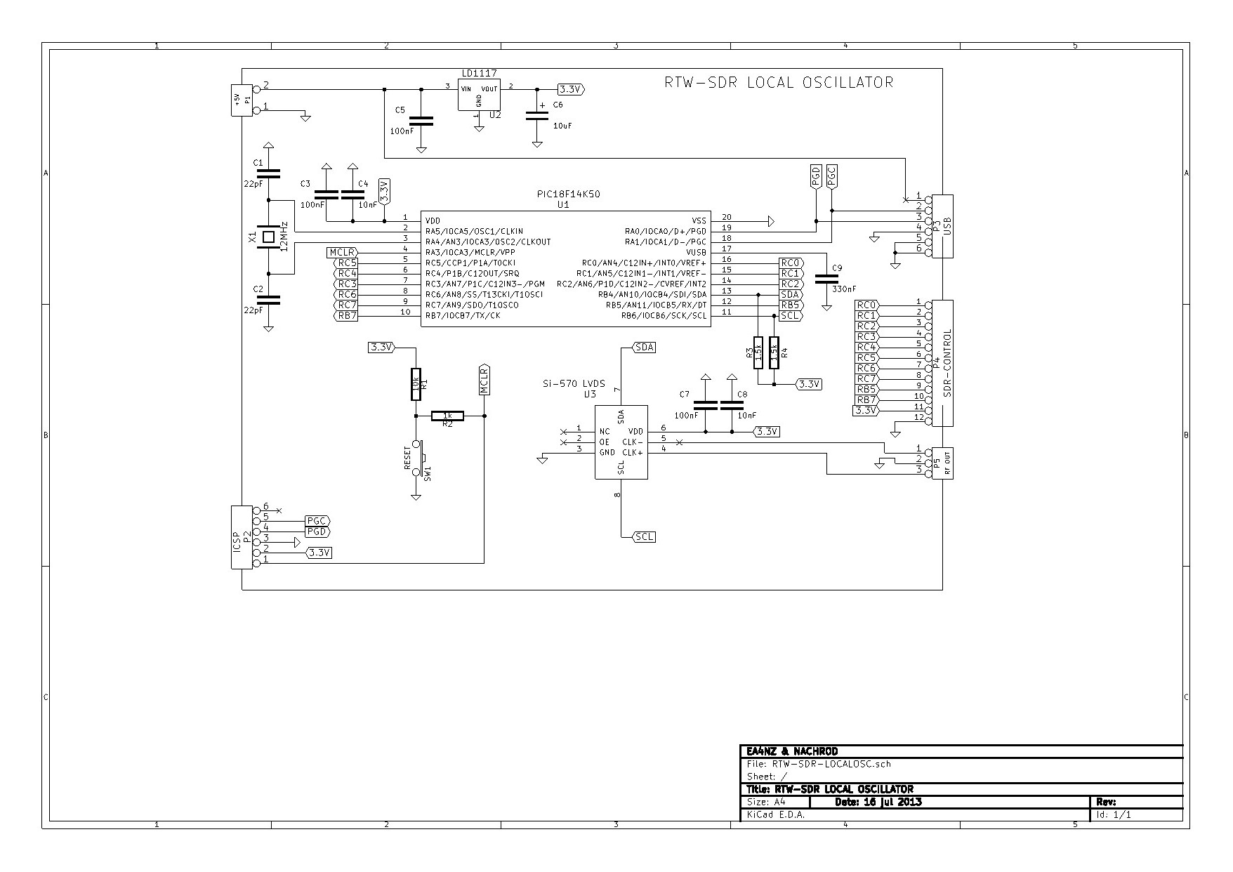 A Rotary Encoder Dial For The Rtw Sdr Localosc Board Find Usb Pic Programmer Schematic Diagram It Has Reset Button And Can Be Externally Programmed Through Icsp Connector I Use Pickit2 From Microchip Final Looks